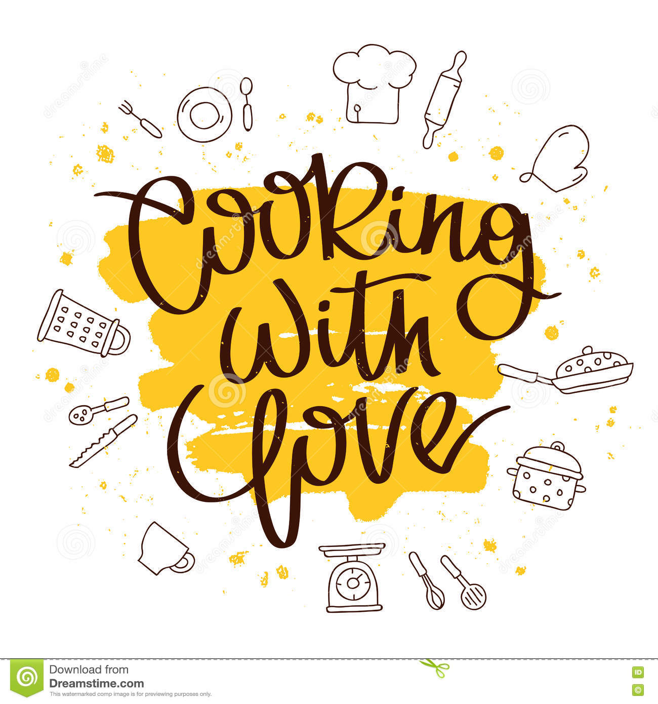 Quote Cooking with love stock vector. Illustration of icons - 74288694