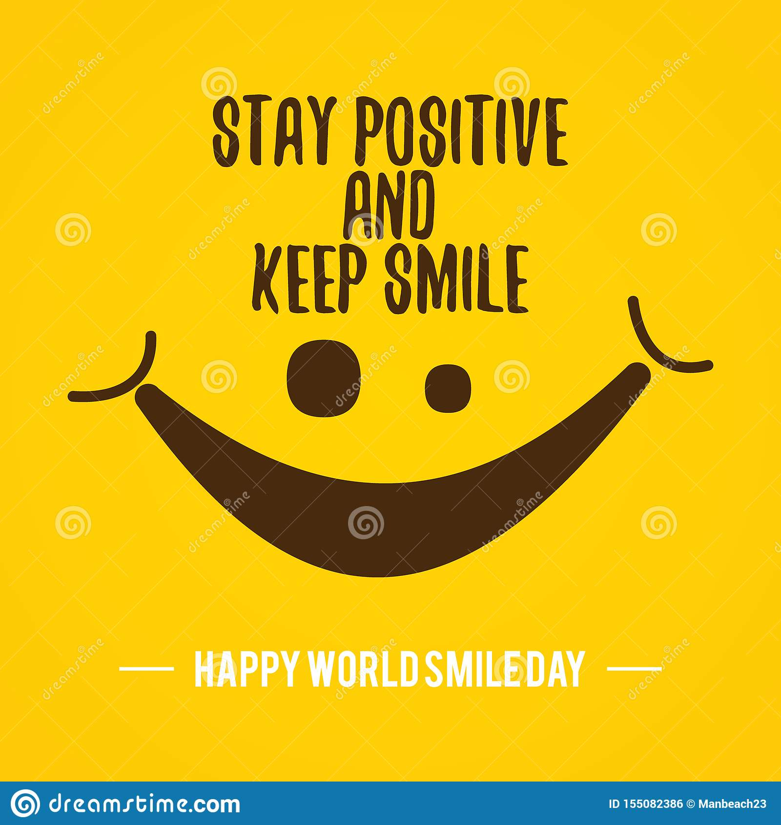 quote design world smile day vector on the yellow background stock