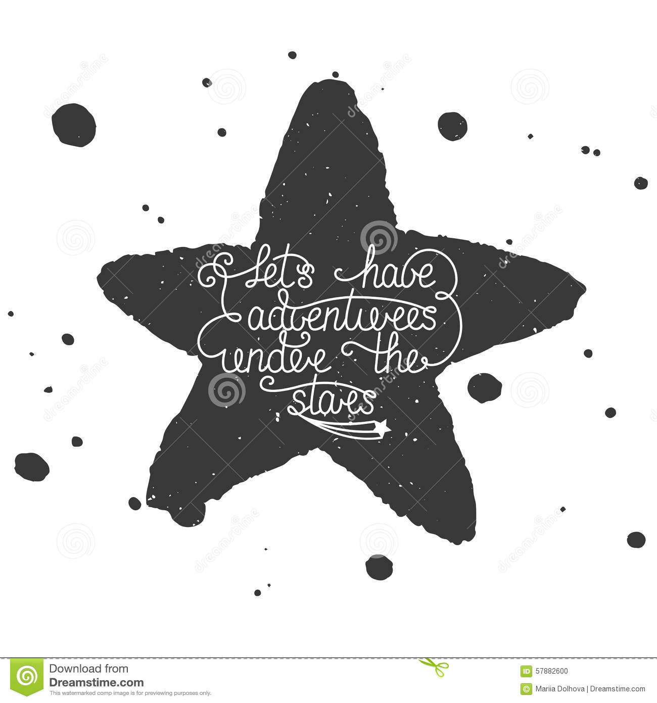 Quote Let s have adventures under the stars with hand made watercolor star and splashes