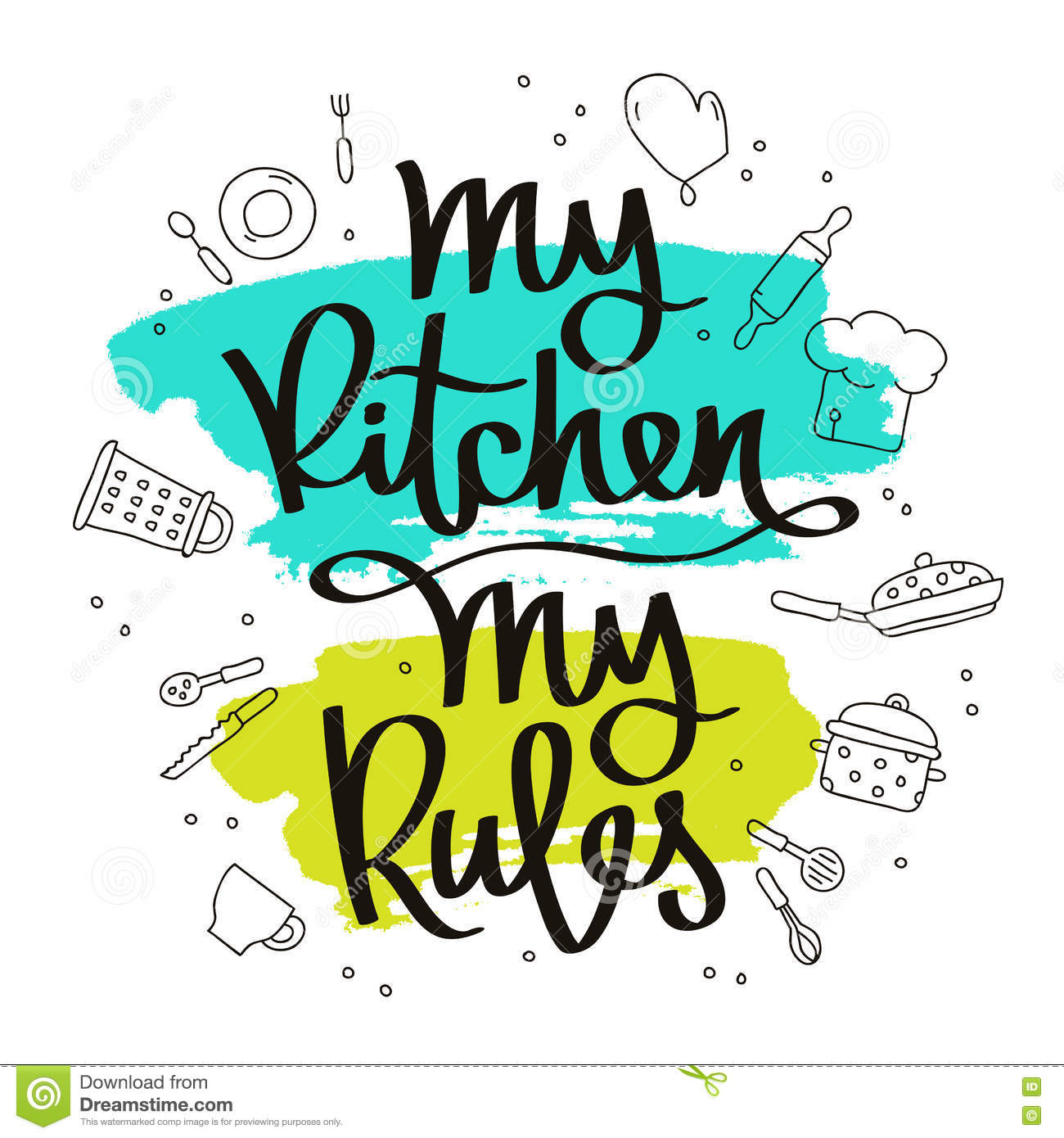Quote My kitchen, my rules stock vector. Illustration of brush ...