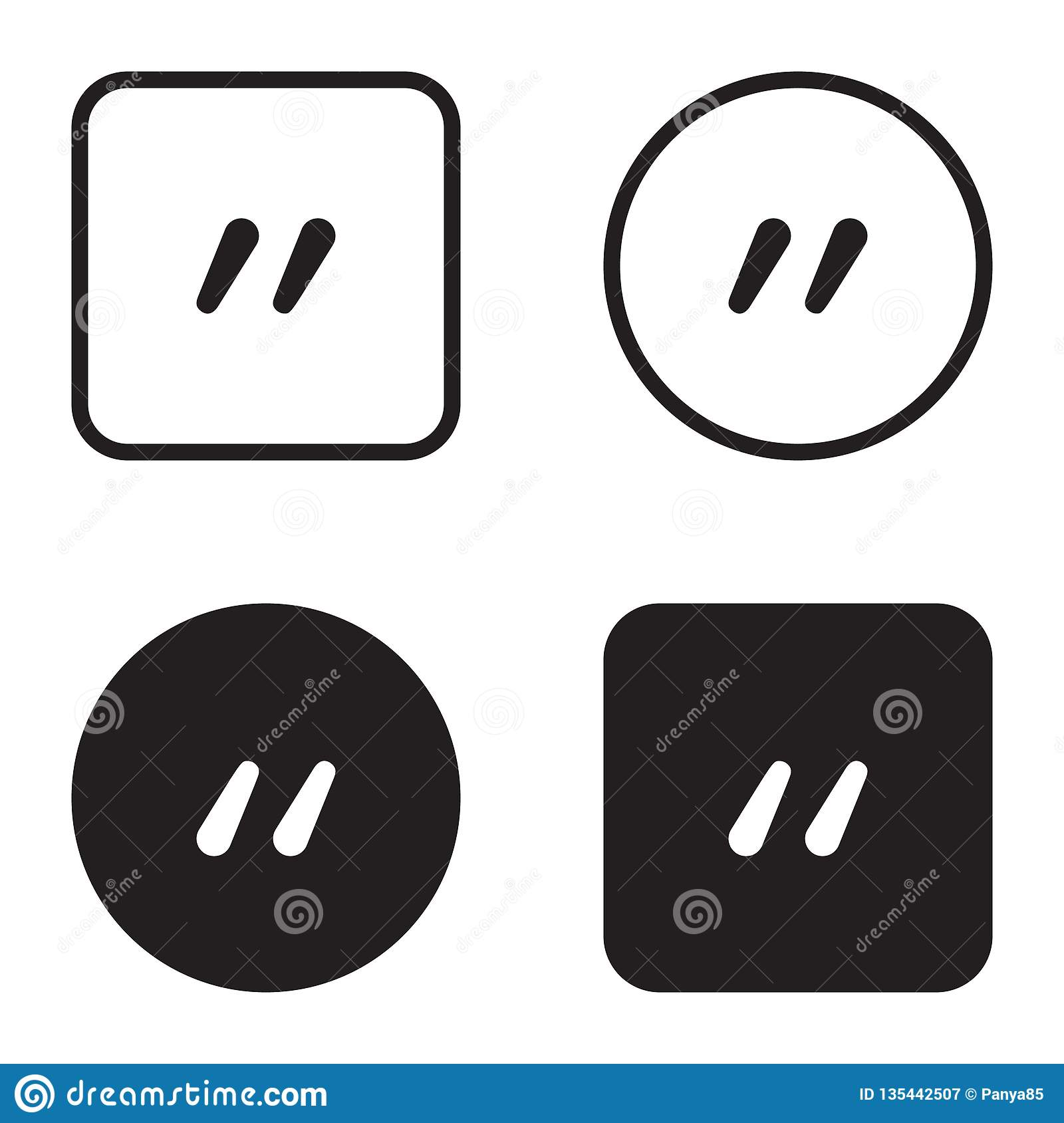 Quote symbol icon set. Quotation paragraph mark. Sign of double comma
