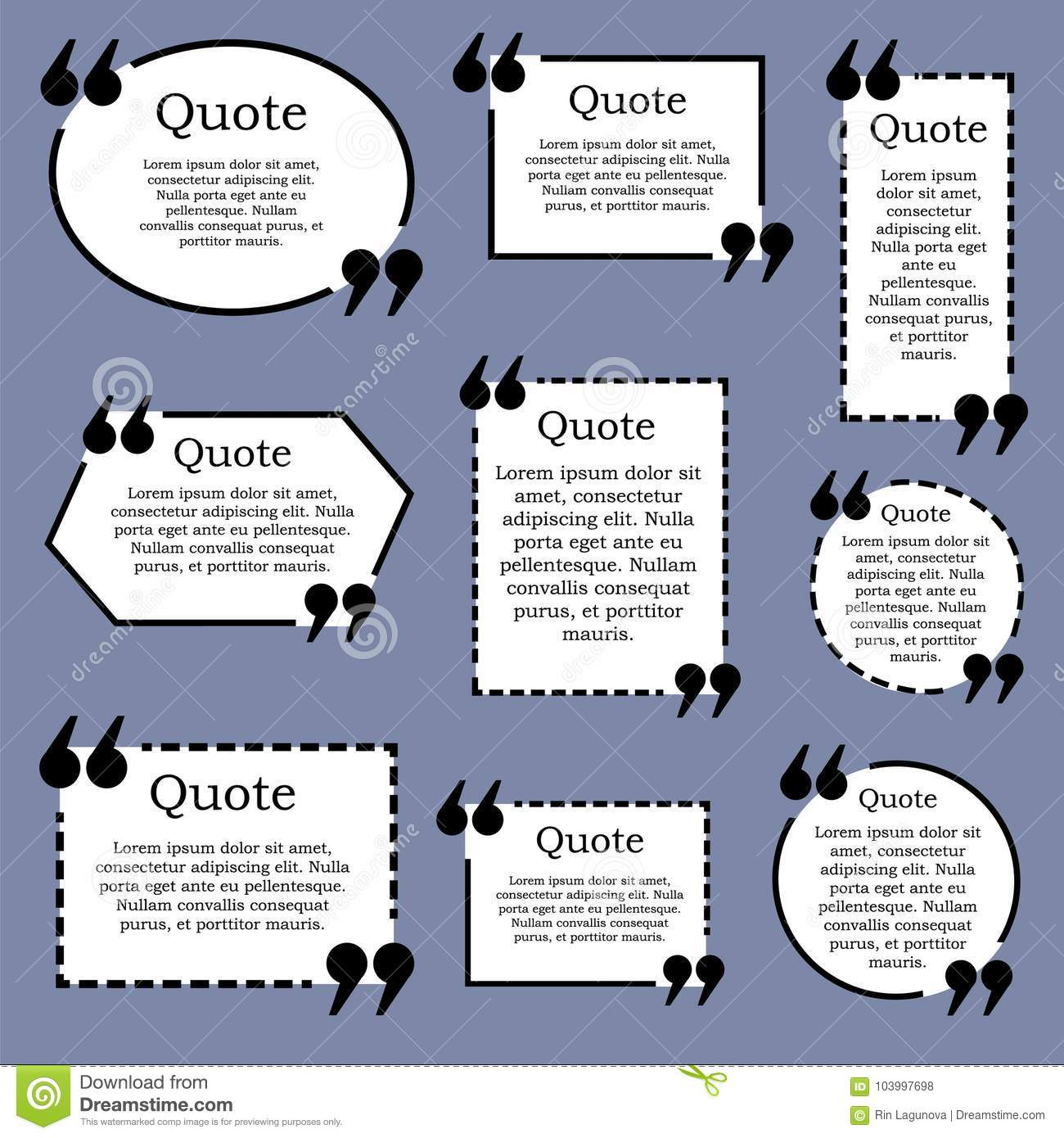 Quote Text Frame. VECTOR. Set Of Black And White Frames On Blue ...