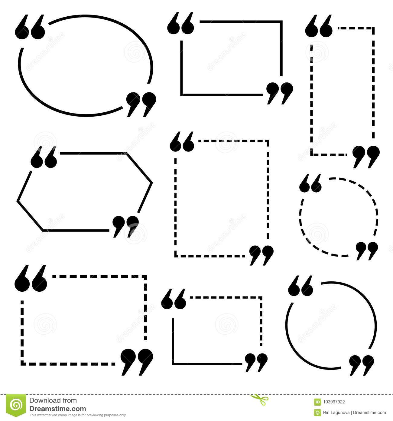 Quote Text Frame. VECTOR Template. Collection Of White