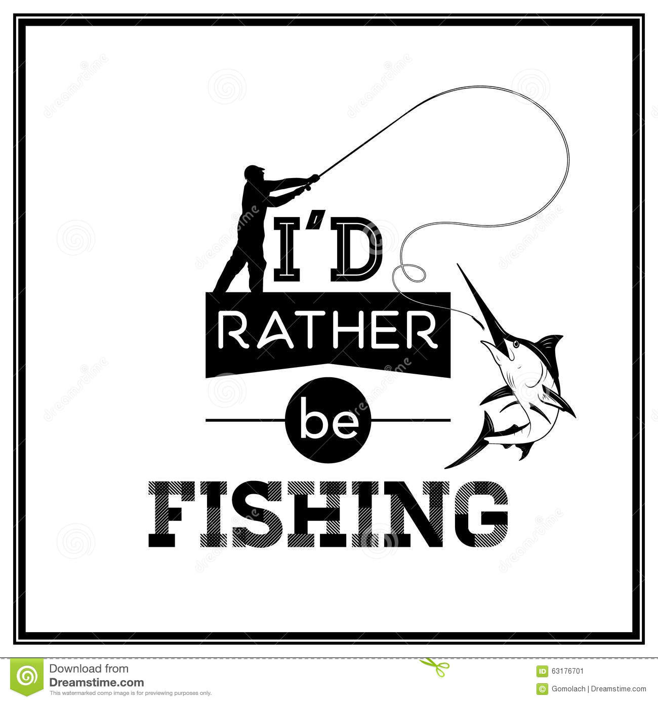 Quote typographical background stock vector image 63176701 for Rather be fishing