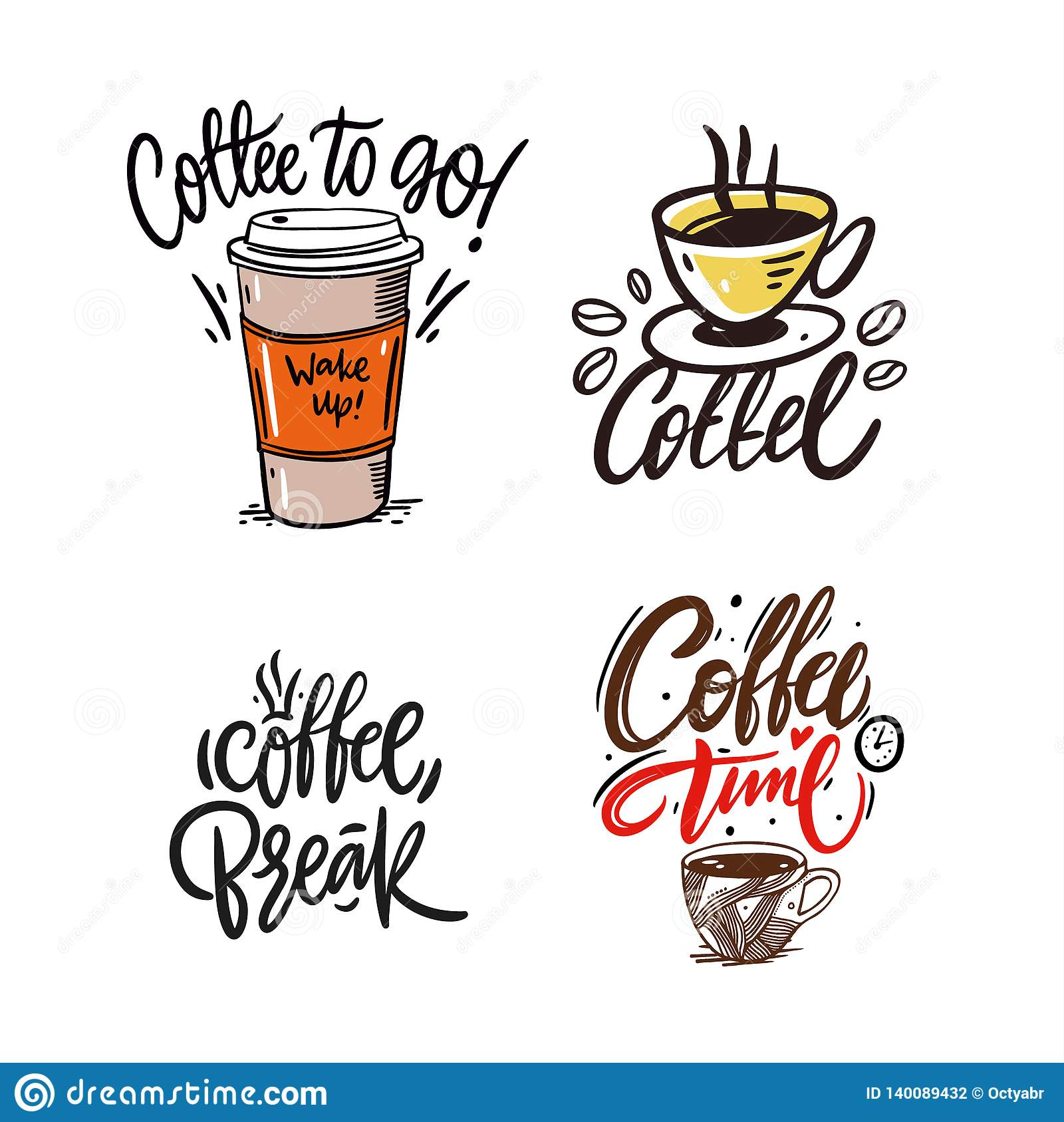 quotes coffee typography set hand drawn vector lettering coffee