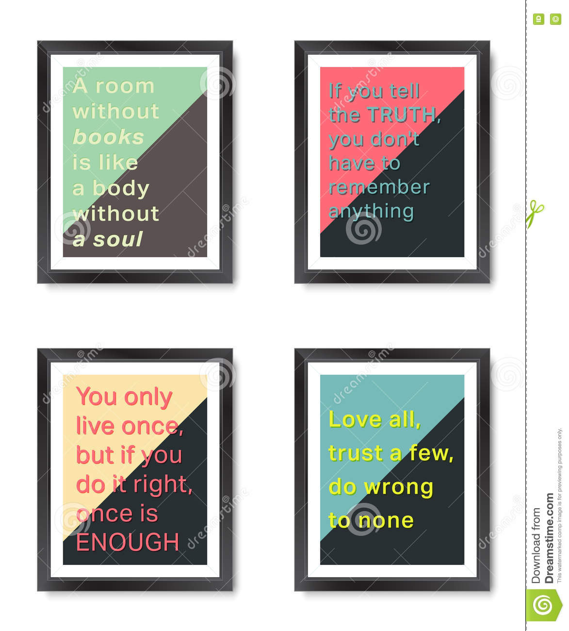 Quotes Motivation Frames Set Stock Vector - Illustration of phrases ...