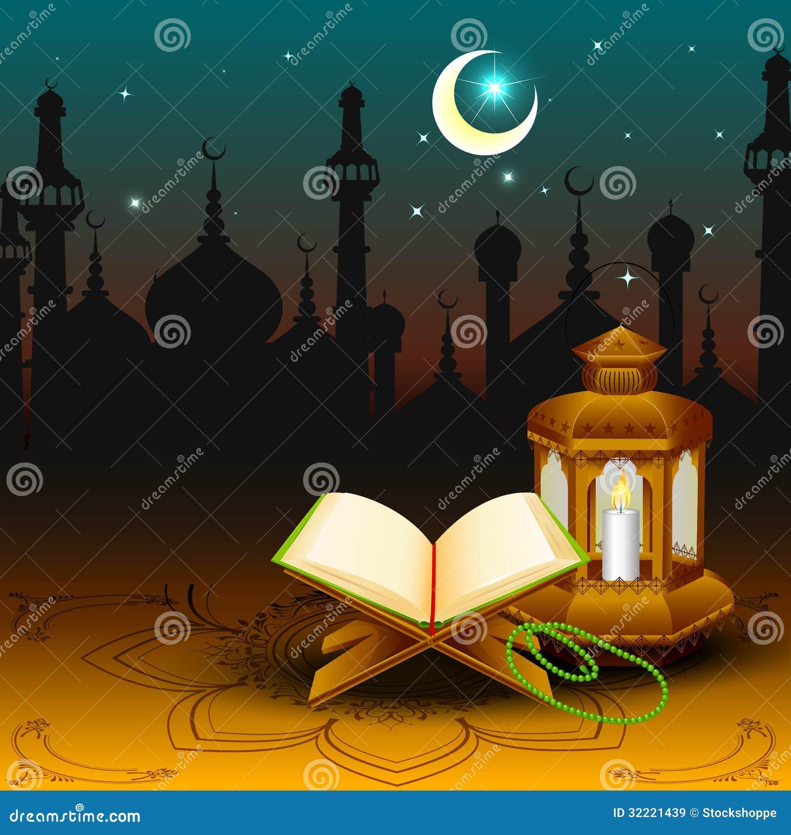 Citaten Quran Gratis : Quran with lamp on eid mubarak background stock vector