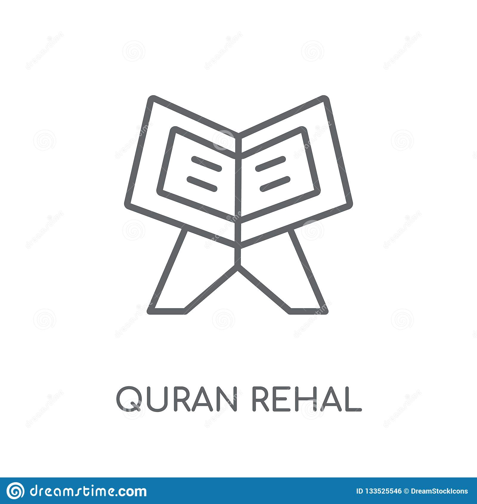 Quran Rehal Linear Icon  Modern Outline Quran Rehal Logo Concept