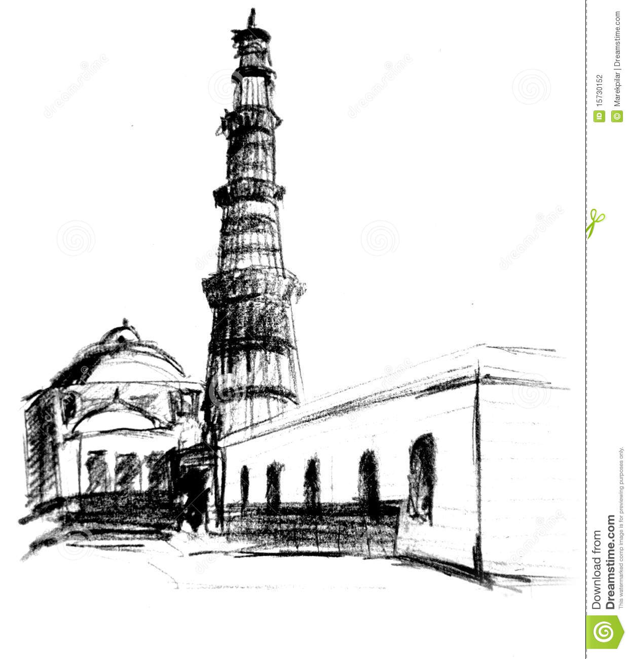 Qutub Minar Outline Images Black And White Photography