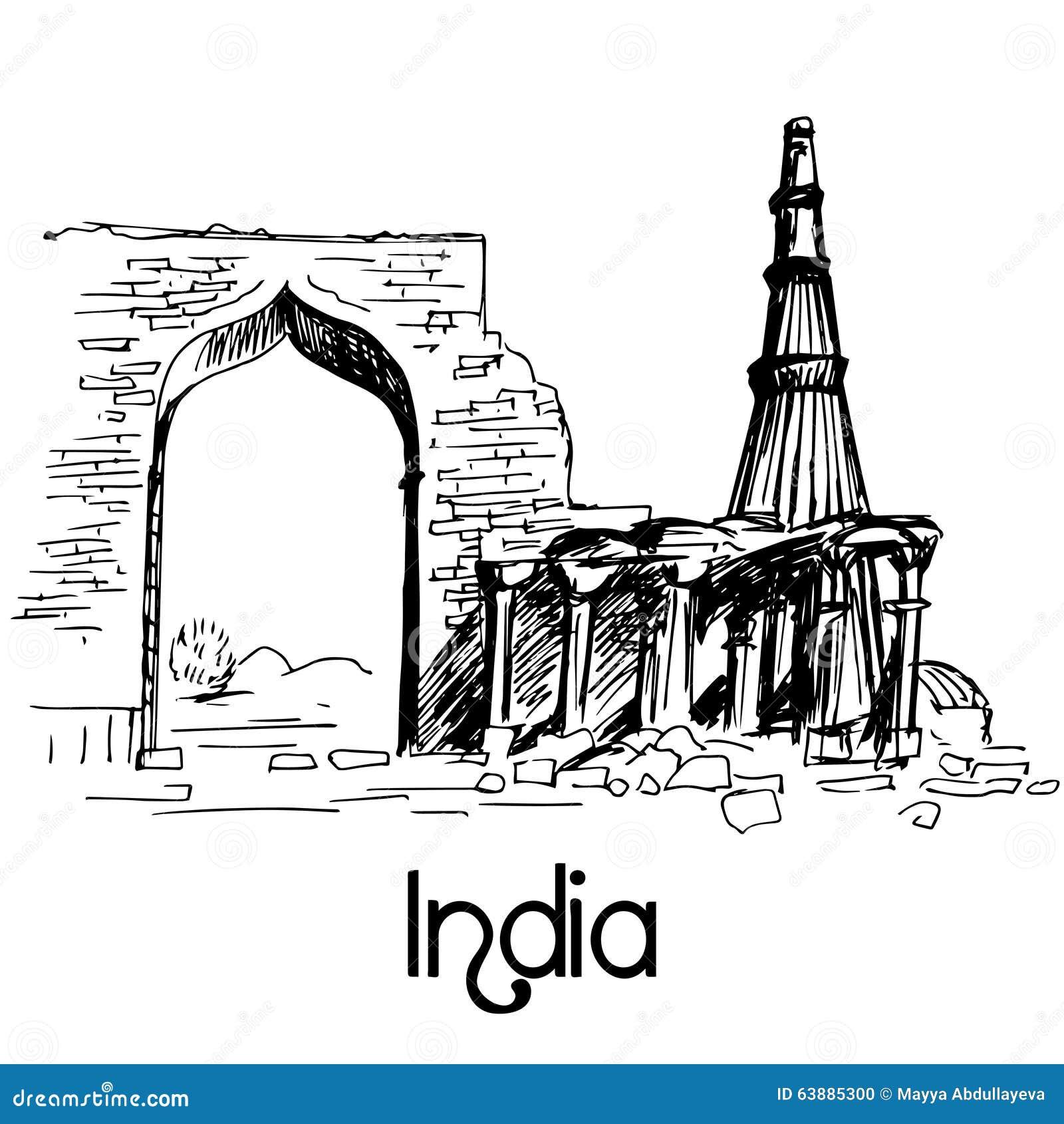 Line Drawing Of Qutub Minar : Delhi skyline vector illustration hand drawn