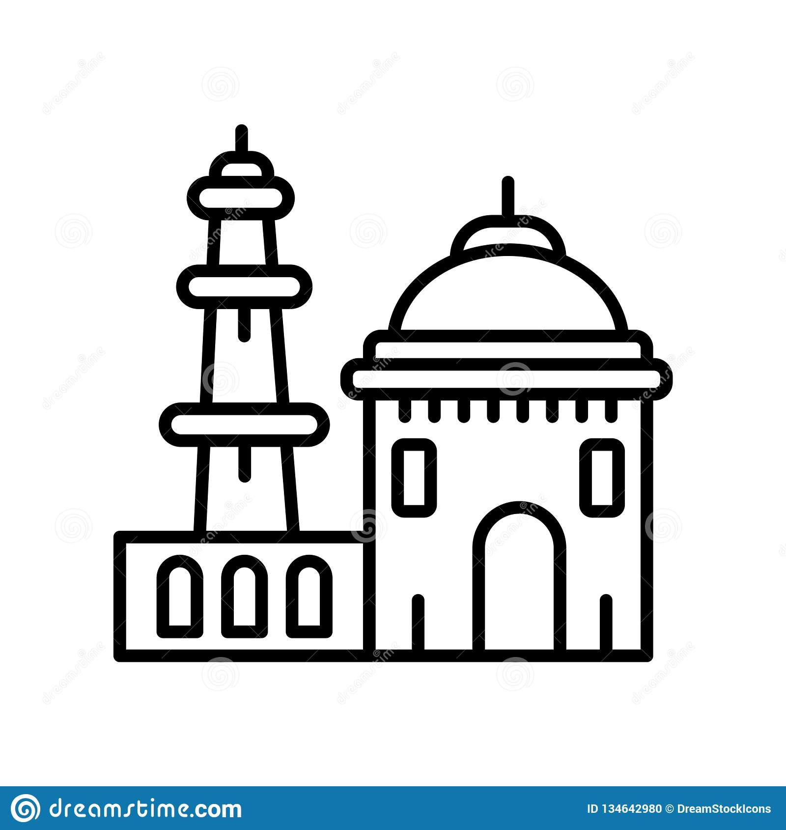 Qutb minar in new delhi icon vector isolated on white background qutb minar in new delhi transparent sign line or linear sign element design in outline
