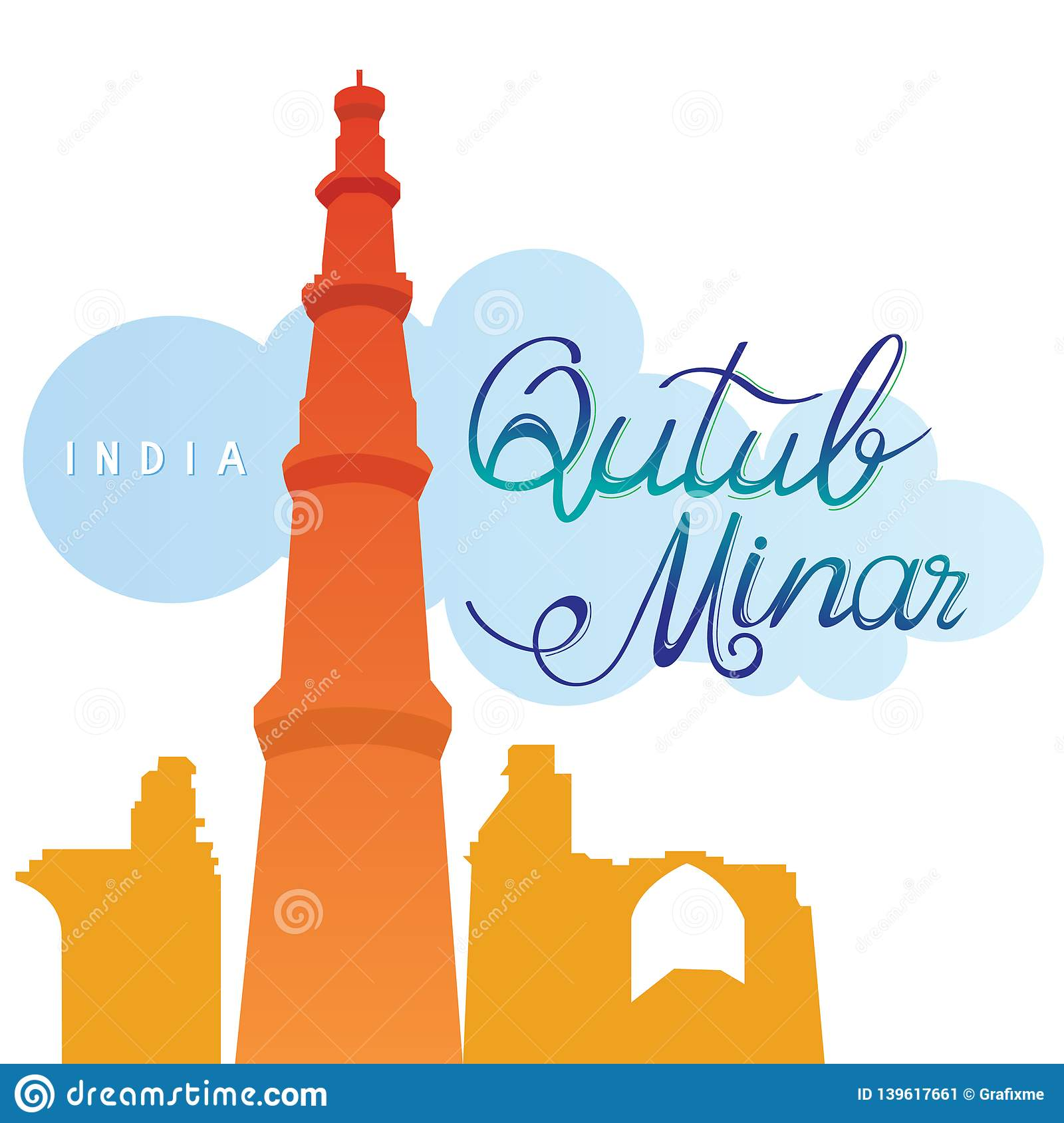Qutub minar with hand drawn name unesco world heritage site in new delhi india