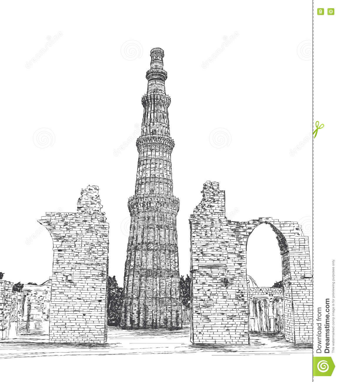 Qutub minar vector illustration new delhi india unesco world