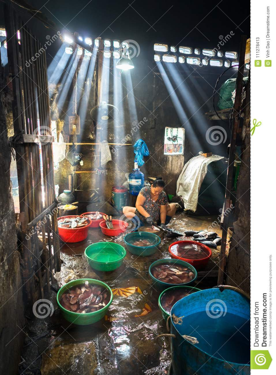 Quy Nhon, Vietnam - Oct 22, 2016: Seafood processing at fish market in Quy Nhon, south Vietnam