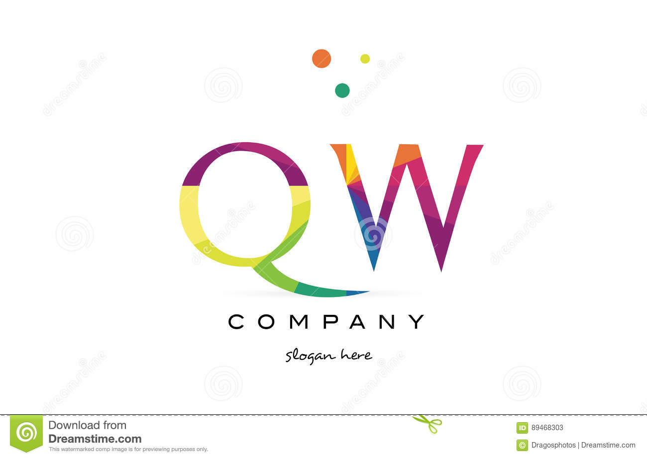 qw q w creative rainbow colors alphabet letter logo icon