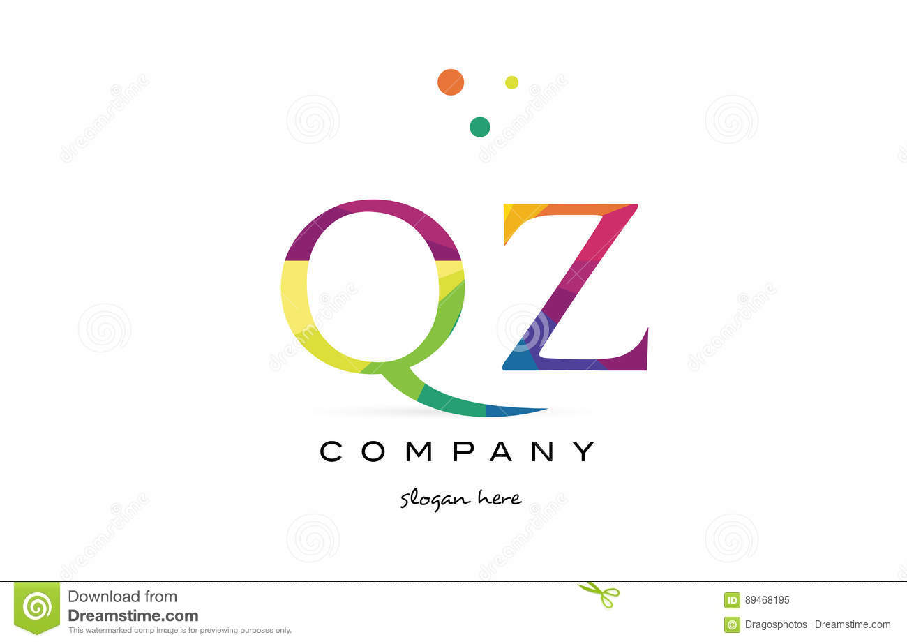 qz q z creative rainbow colors alphabet letter logo icon