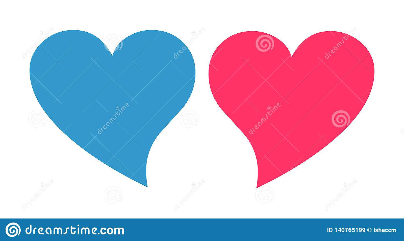 Różowy i błękitny kierowy wektor Rodzaju serca ikona
