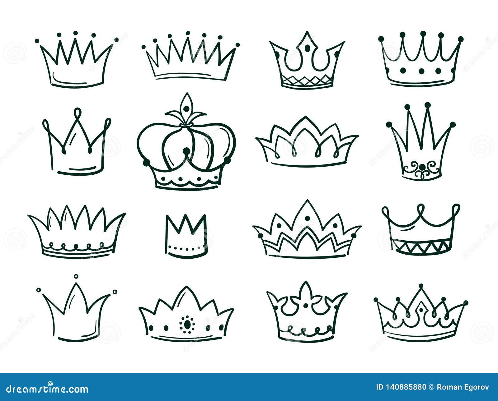 Ręka rysująca korona Nakreślenie koronuje królowej coronet prosty elegancki czarny koronuje rocznik zrogowaciałe ikony majestatyc