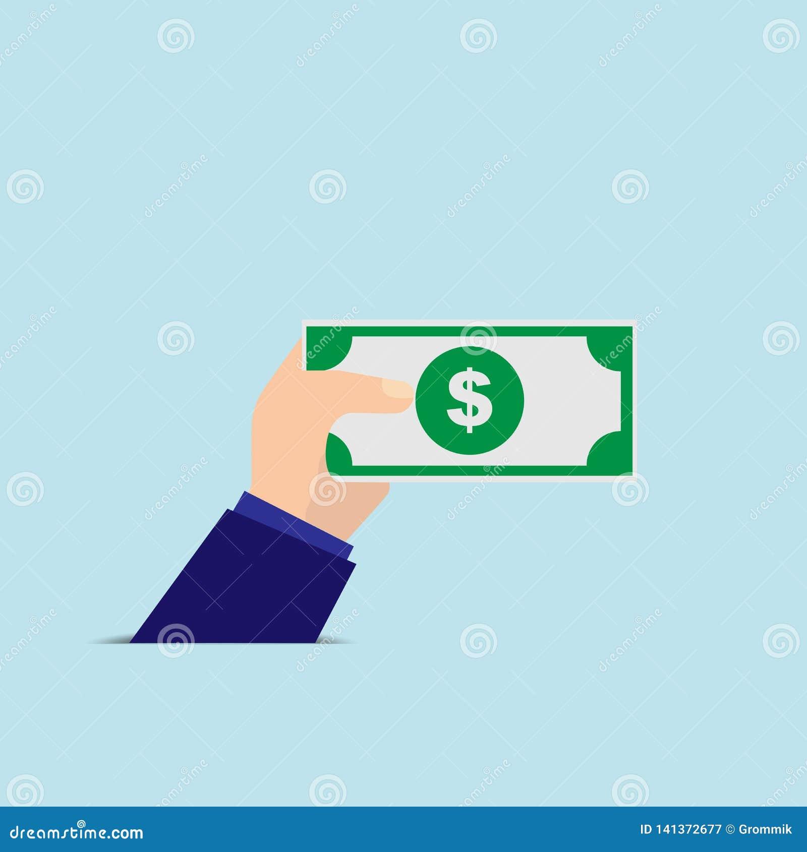 Ręka trzyma banknot, prosty wizerunek