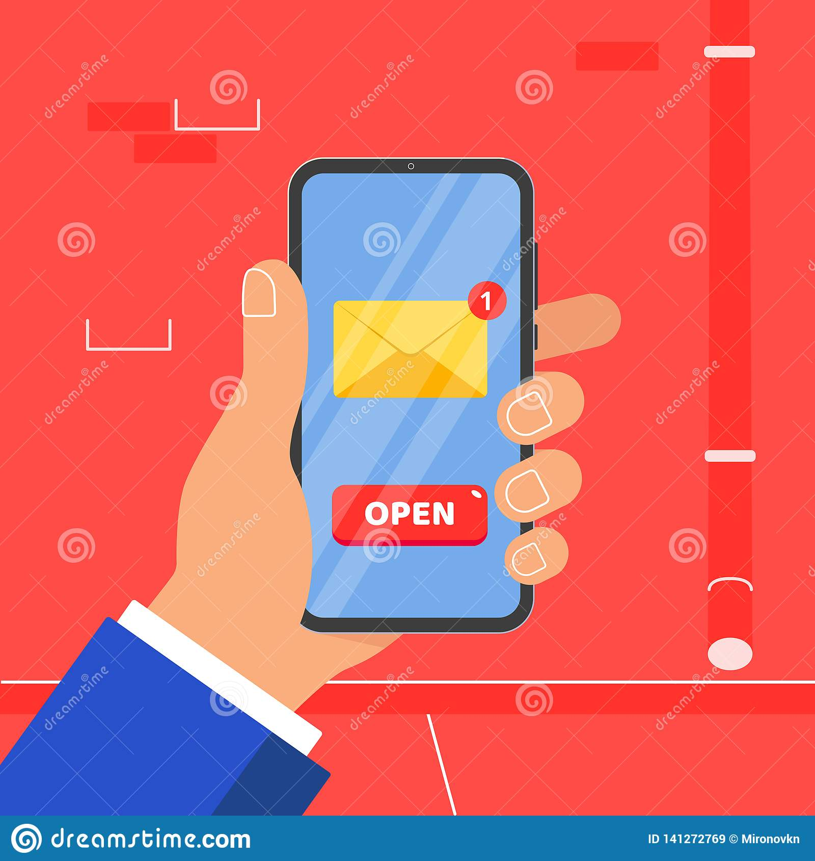 Ręka trzyma czarnego telefon komórkowego z nowej wiadomości koperty guzika symbolu ikony OTWARTYM znakiem na ekranie odizolowywaj