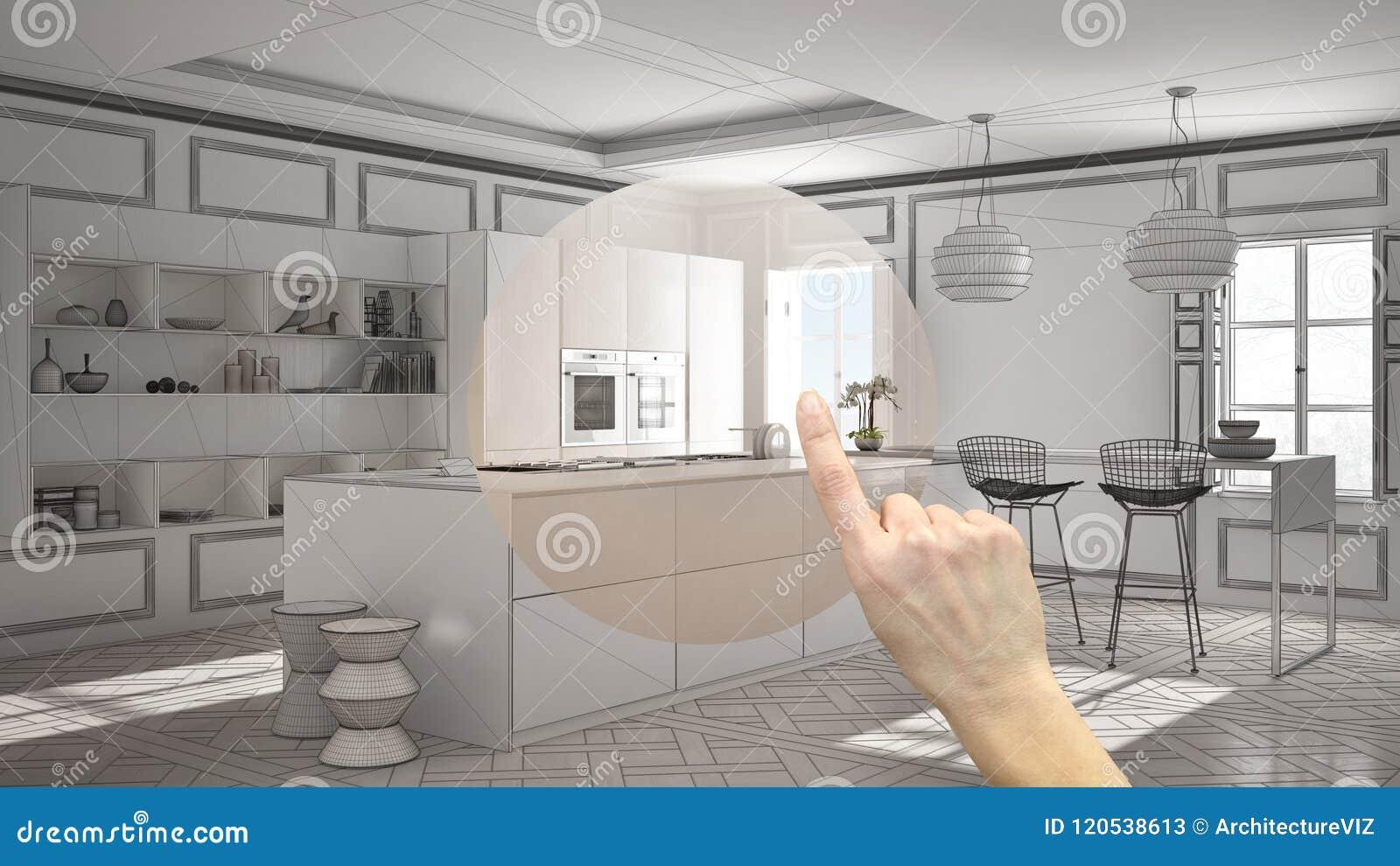 Räcka att peka inredesignprojektet, hemprojektdetaljen och att avgöra på rum som in möblerar eller omdanar begrepp, modernt kök