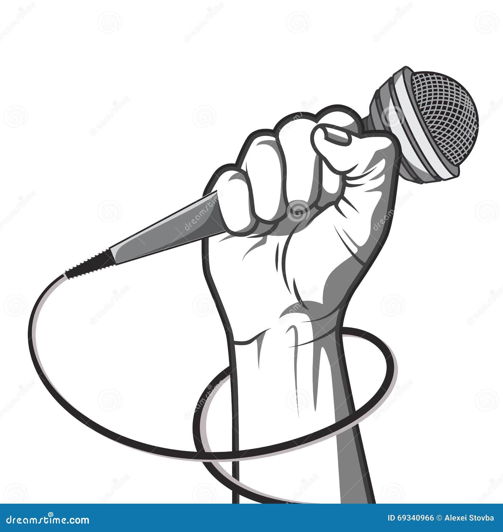 Räcka att rymma en mikrofon i en nävevektorillustration i svartvit stil