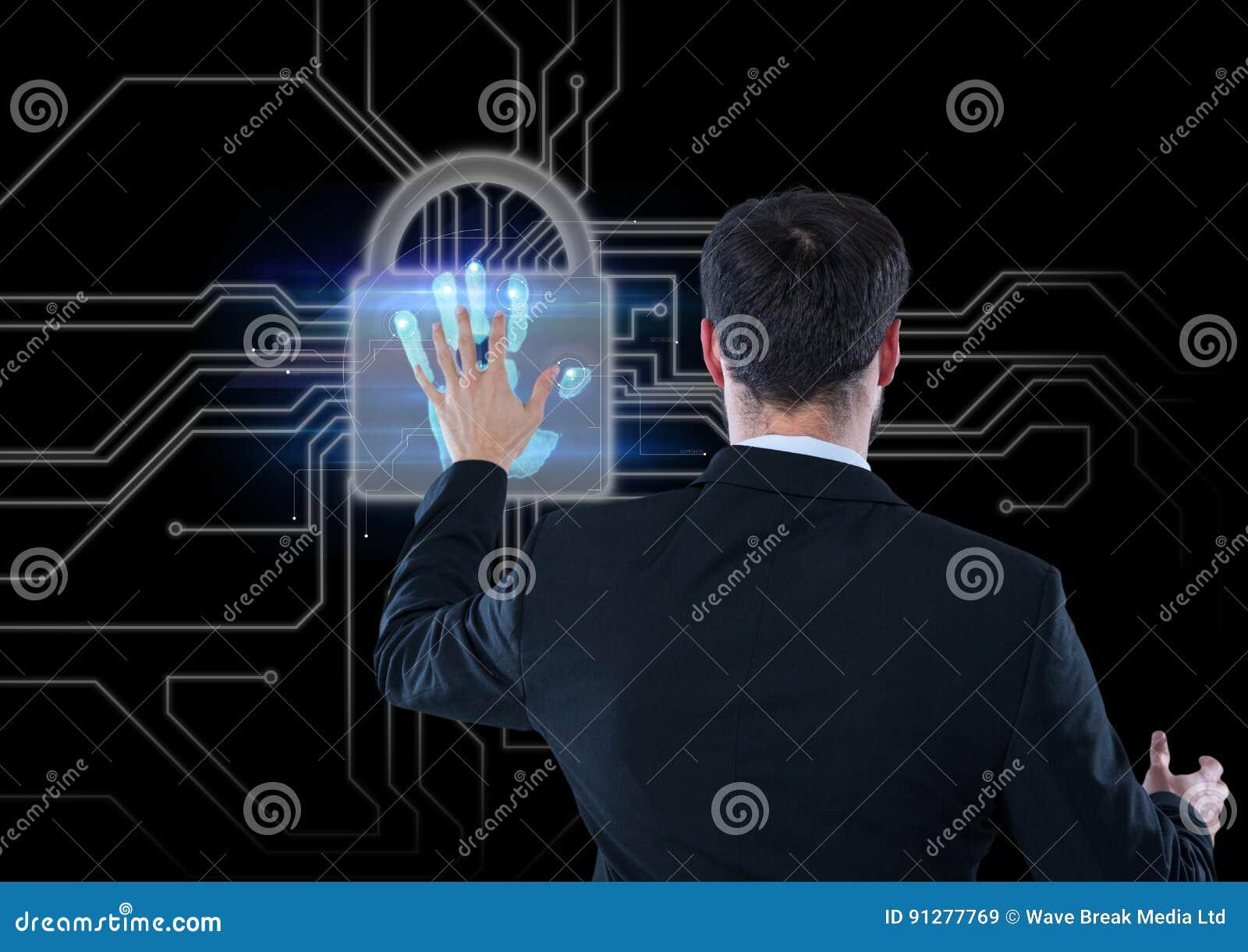 Räcka bildläsningen med låset, affärsmän som öppnar det