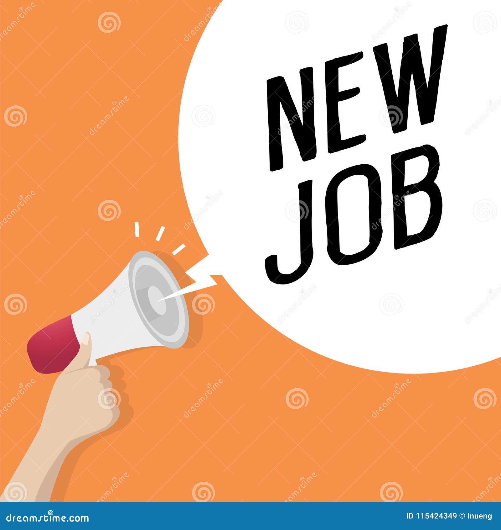 Räcka den hållande högtalaren eller megafonen med NYTT JOBB för anförandebubbla Stor röd tärning med frågor