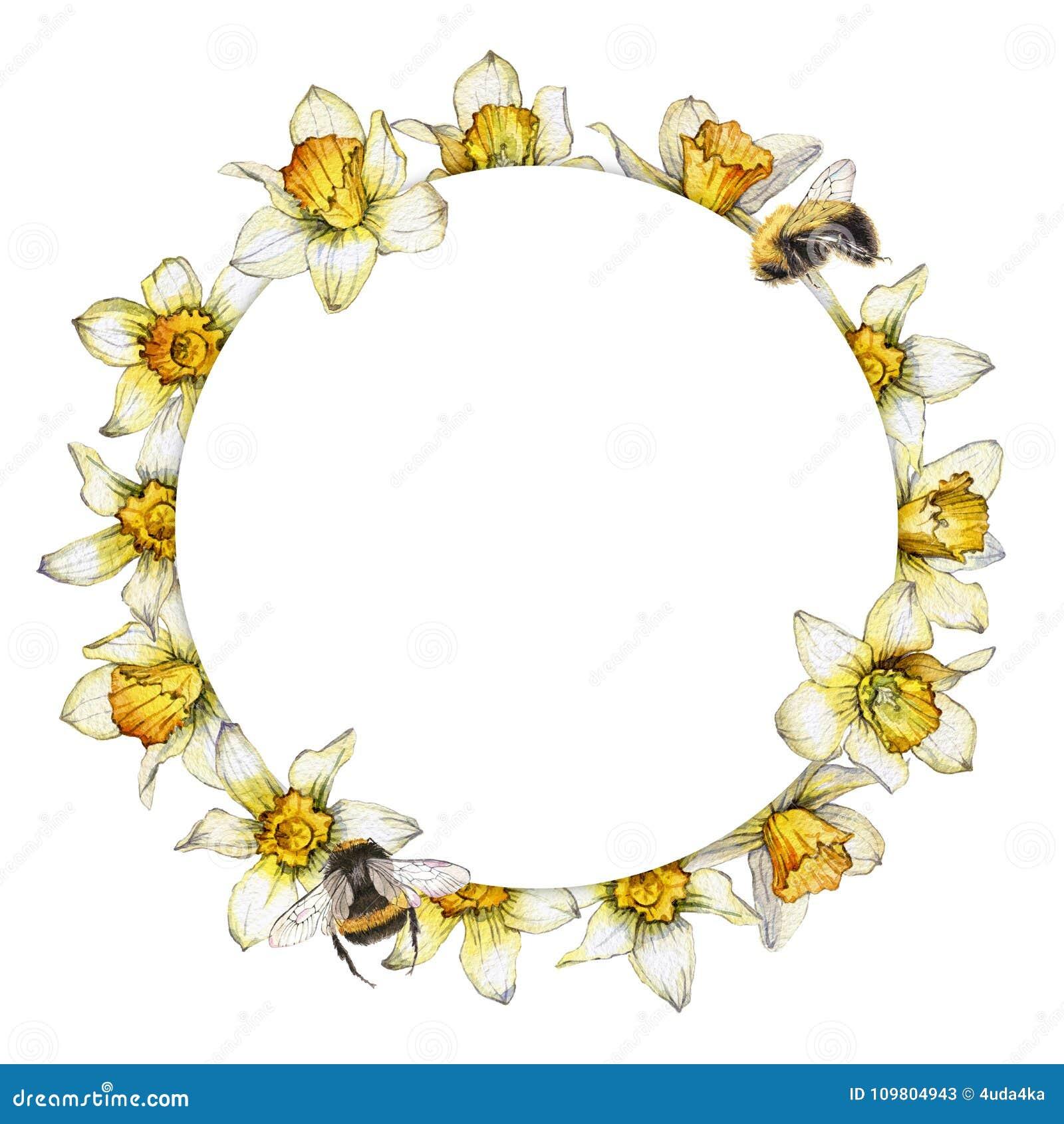 Räcka den målade vattenfärgrundaramen som göras från blommorna av pingstliljan och bin