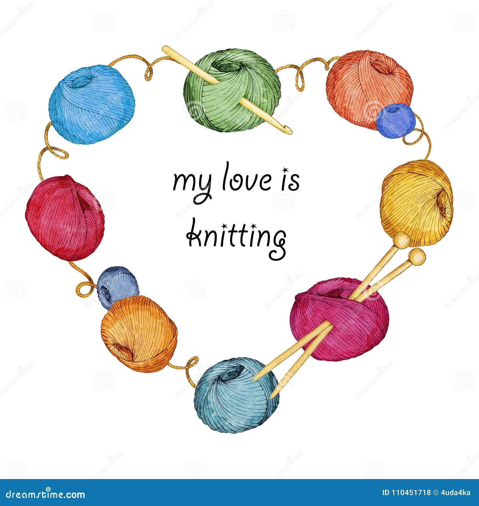 Räcka den utdragna vattenfärgen hjärta-formade kransen som består av handarbetetillbehör