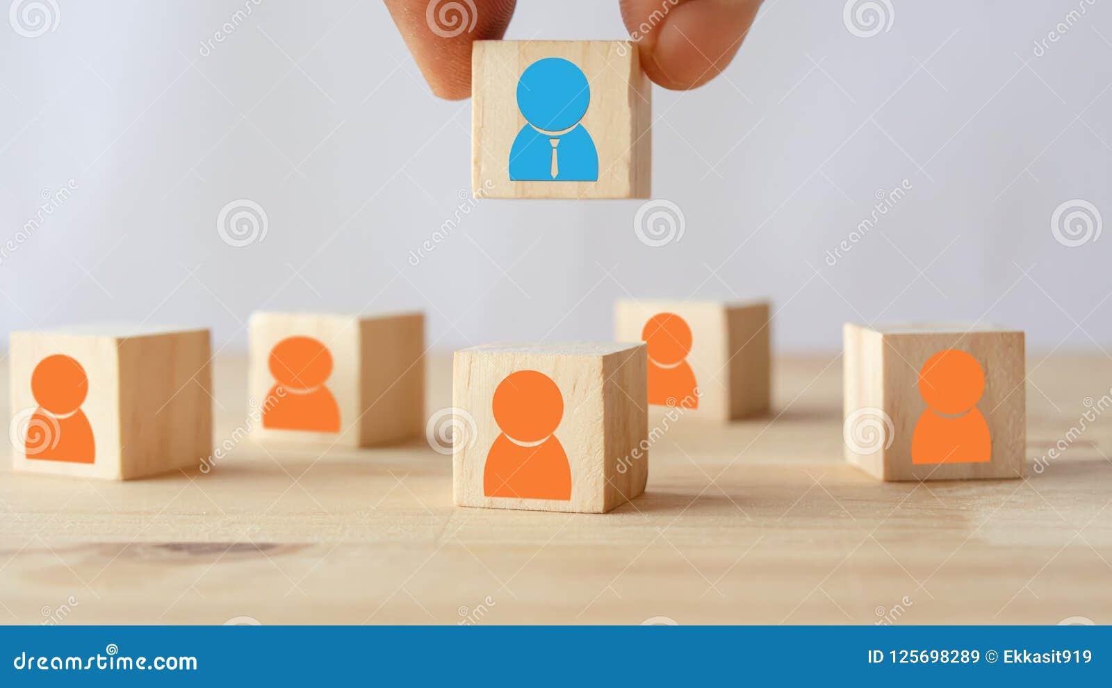 Räcka satt, välj eller välj personen som fick idé eller sakkunniga eller den högra mannen för jobb än annat i hrm för personalres