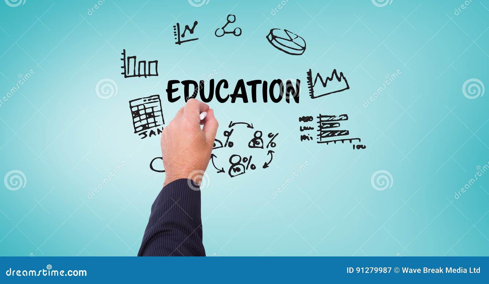 Räcka teckningsdiagram med utbildningstext på skärmen