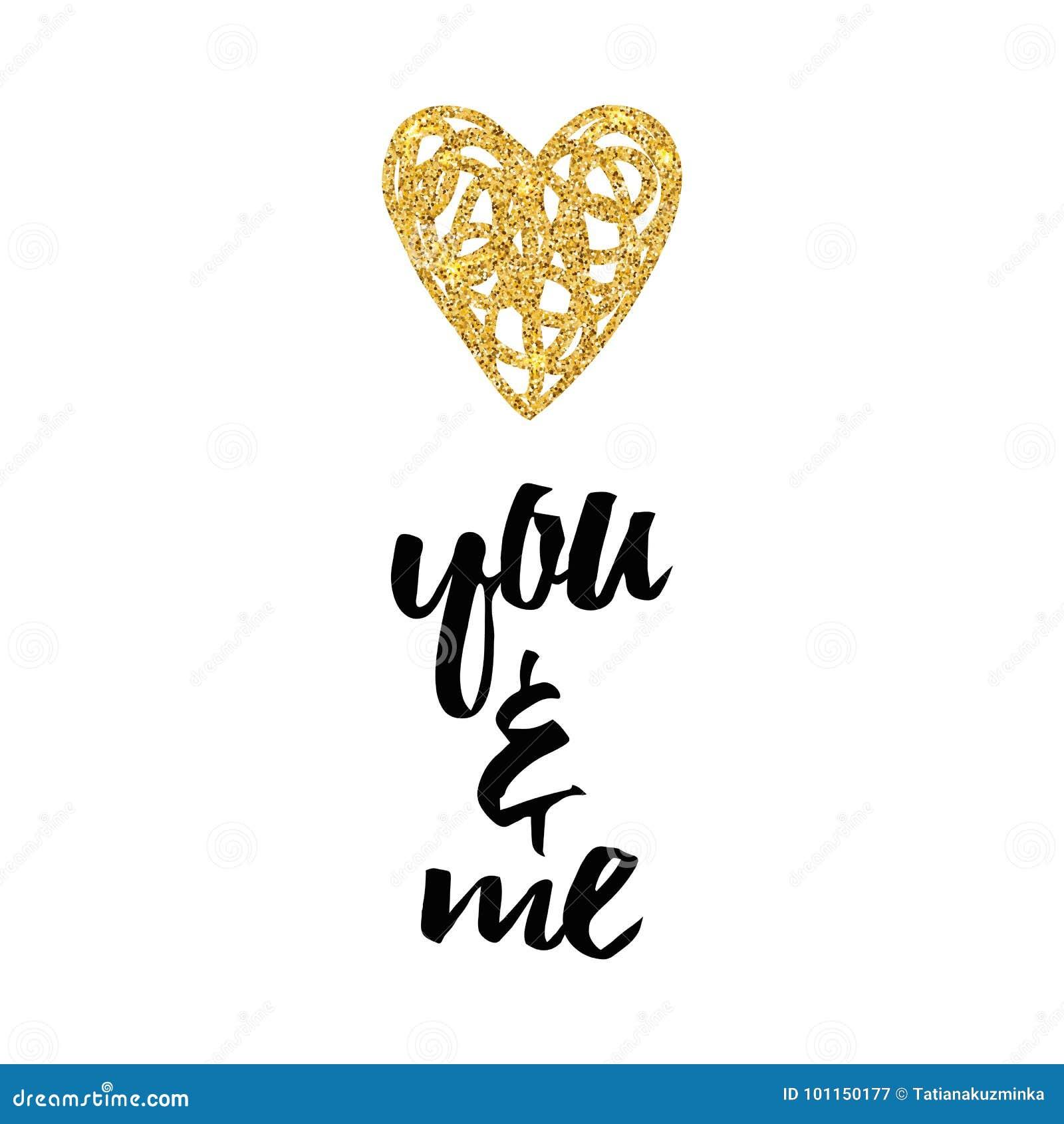 c1dc138d8be7 Lycklig design för mall för orientering för gnistrande för valentindag  festlig Blänka guld- hjärta på vit bakgrund med text om förälskelse dig och  mig ...