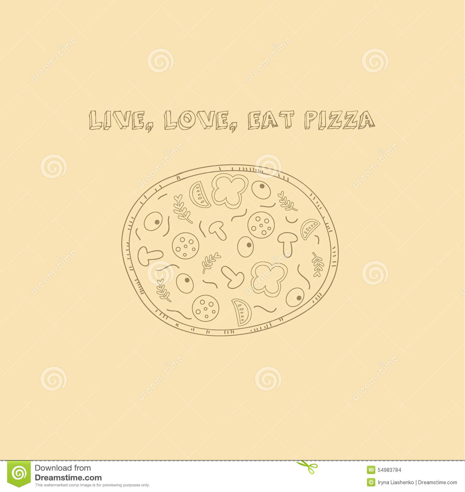 Räcka utdragen pizza i retro stil med slogan