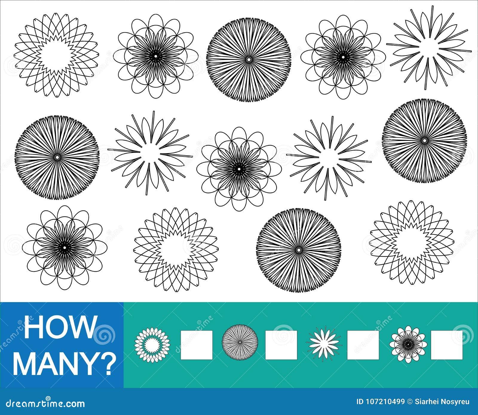 Räkna how many klottrar blommor colorless Lek för barn