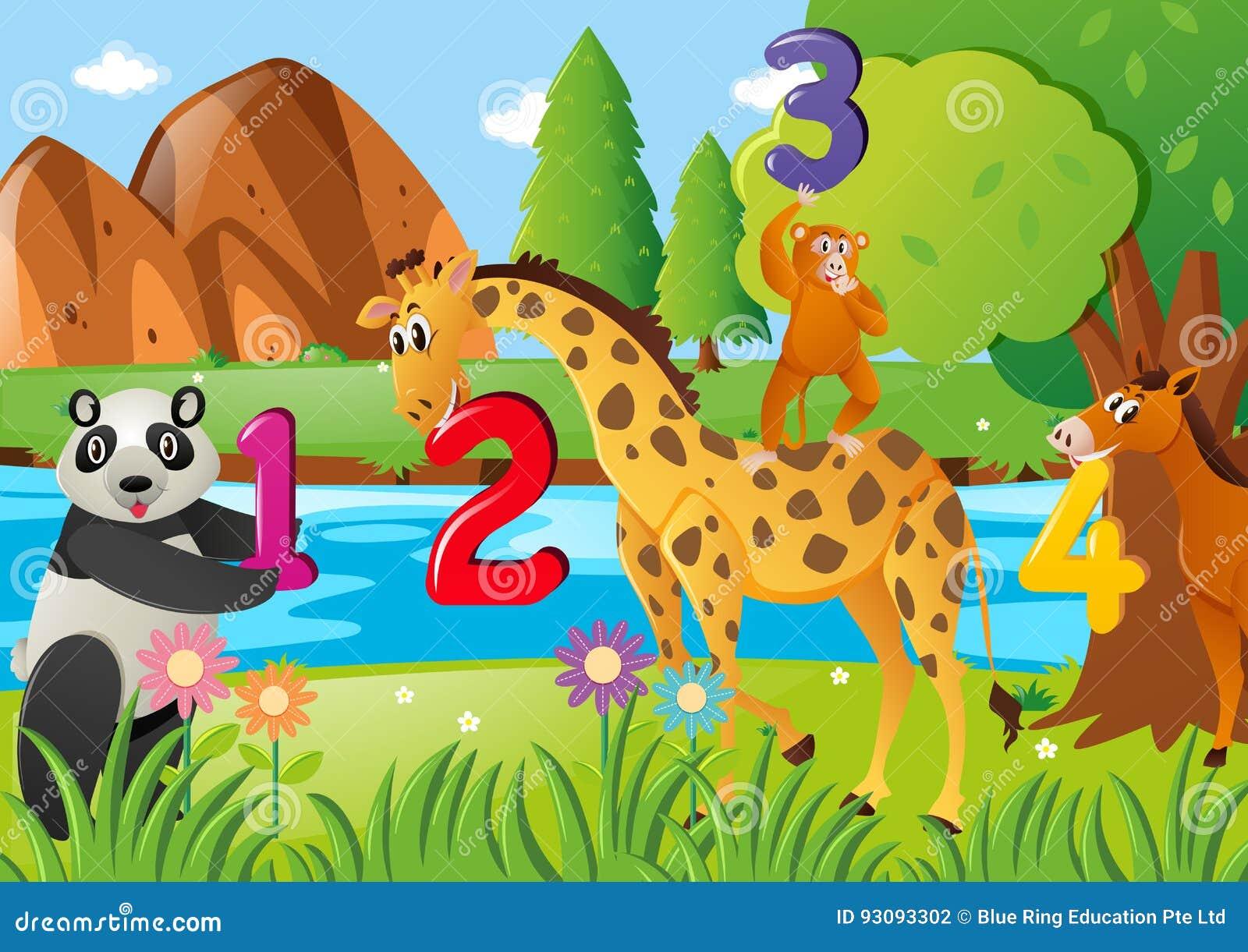 Räkna nummer med vilda djur
