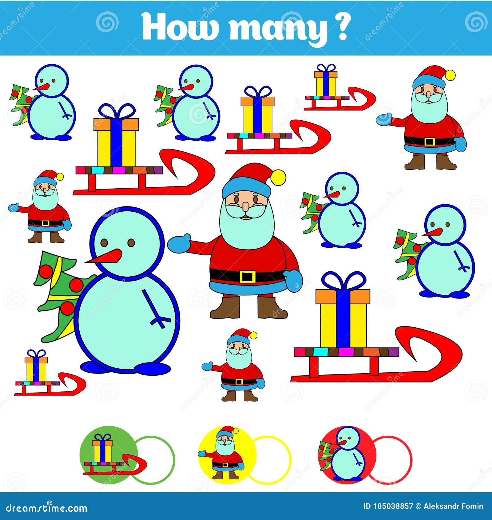 Räkna spelar bildande barn, ungeaktivitetsarket Hur många objekt task Lära matematik, nummer också vektor för coreldrawillustrati