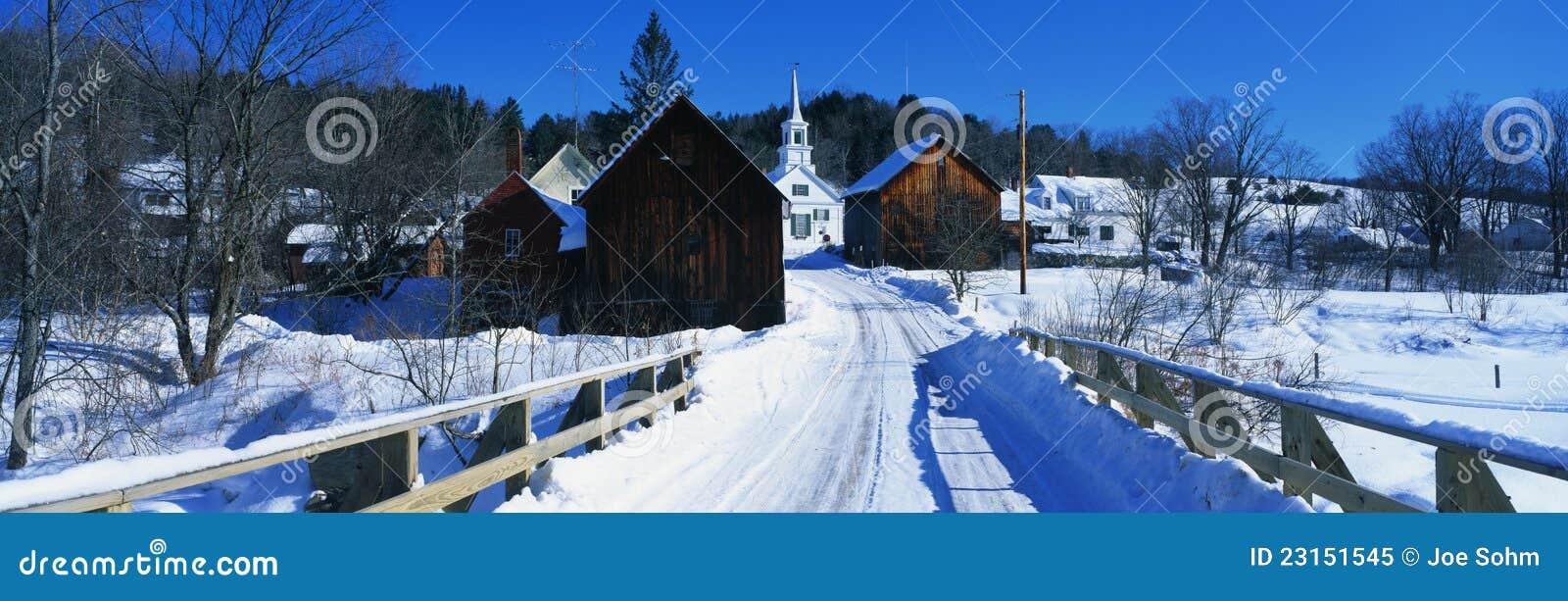 Räknad bro för Snow i den New England townen