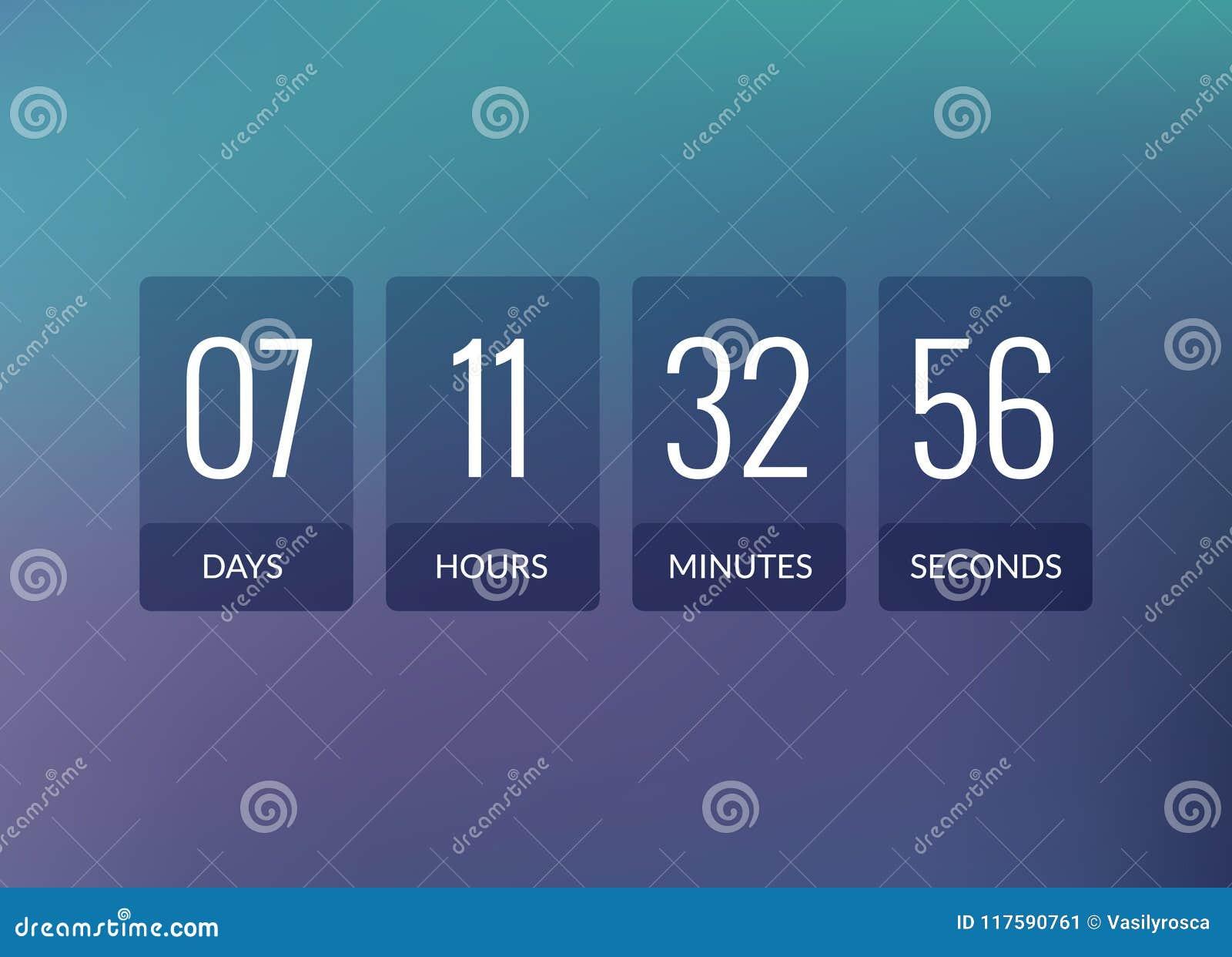 Räknare för klocka för nedräkningtidmätarevektor Design för skärm för Flipaffärsfunktionskort