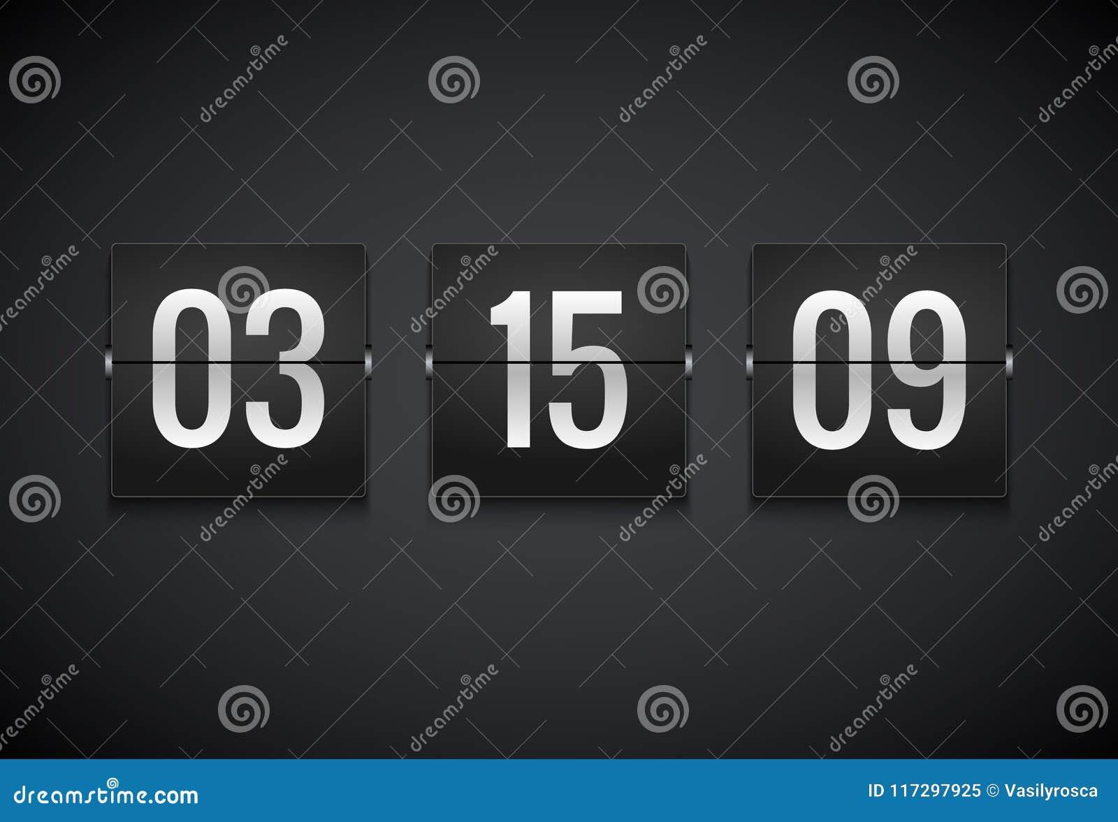 Räknare för nedräkningtidmätareklocka Mall för Flipvektortidmätare Information om skärm av minuten, timme Information om funktion