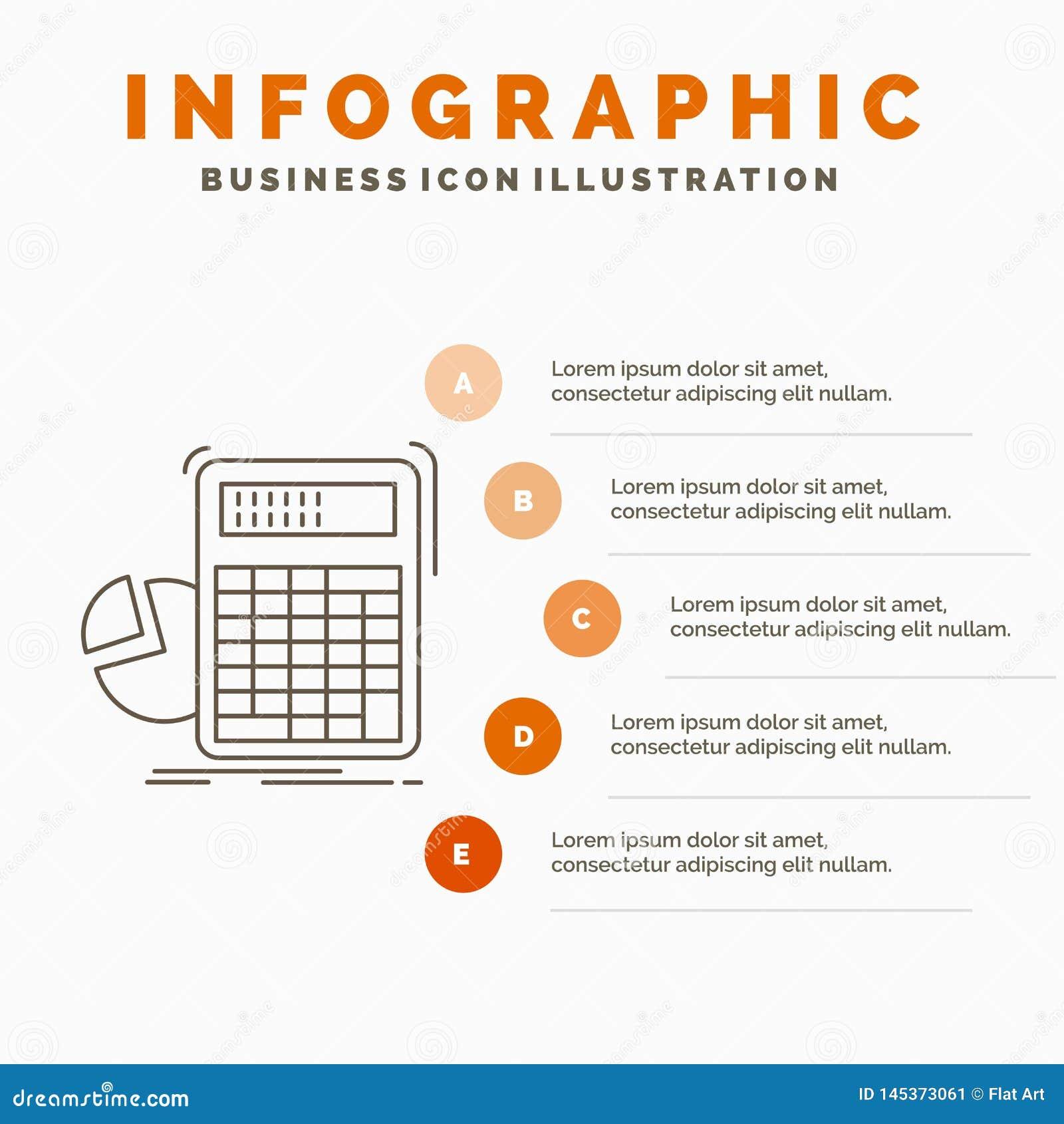 Räknemaskin, beräkning, matematik, framsteg, grafInfographics mall för Website och presentation Linje gr? symbol med apelsinen
