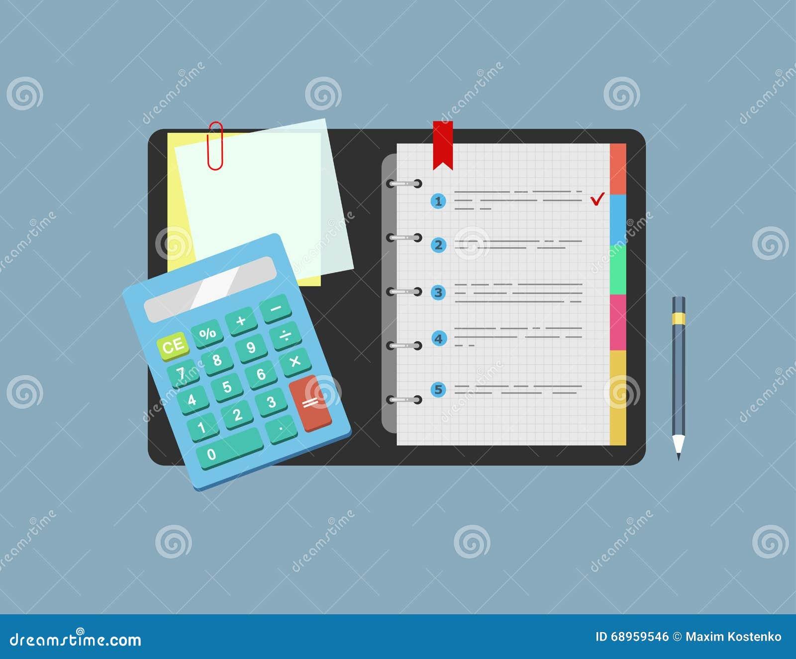 Räknemaskinen, notepaden, anmärkningspapper och blyertspennan ligger på tabellen Begrepp av planläggningen, analys också vektor f