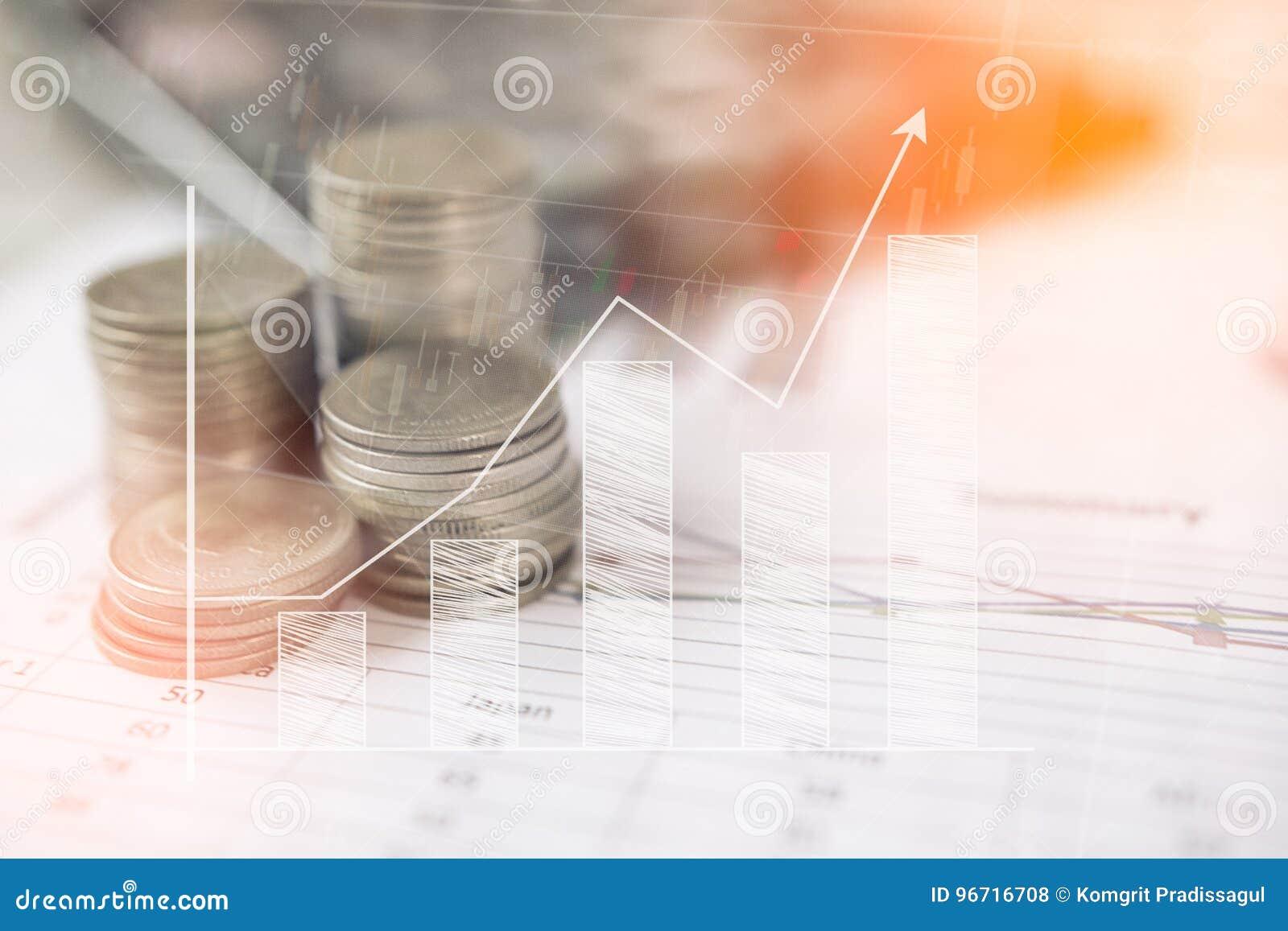 Räknemaskinen och myntet, pengar med affärsgrafer och diagram anmäler på tabellen, räknemaskin på skrivbordet av finansiellt hyvl