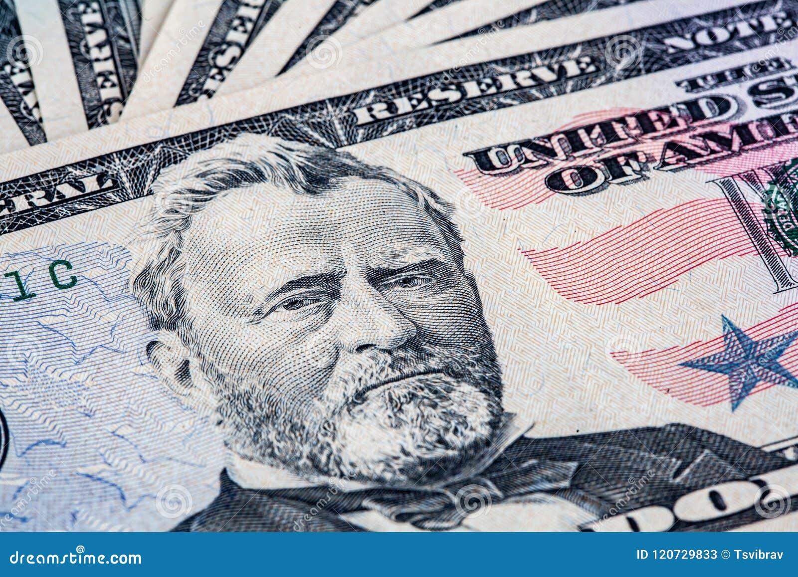 Räkning för dollar 50 med Ulysses S Grant Portrait