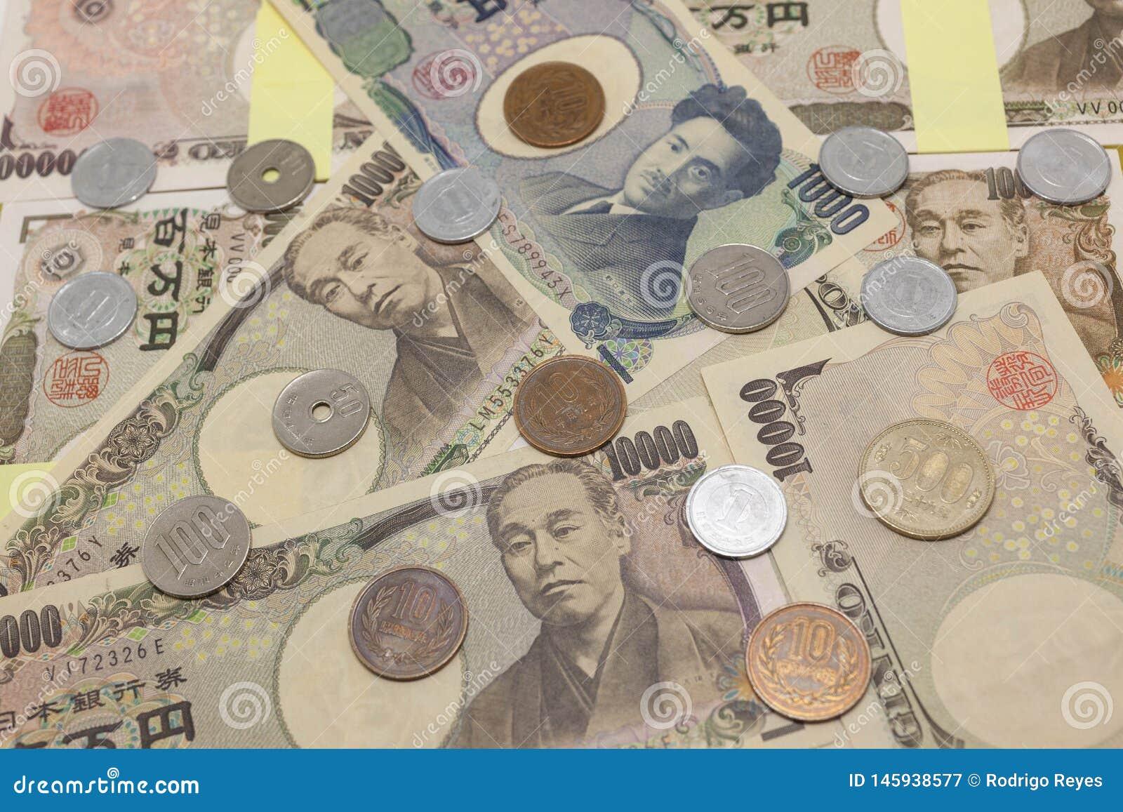 Räkningar och mynt för japansk yen