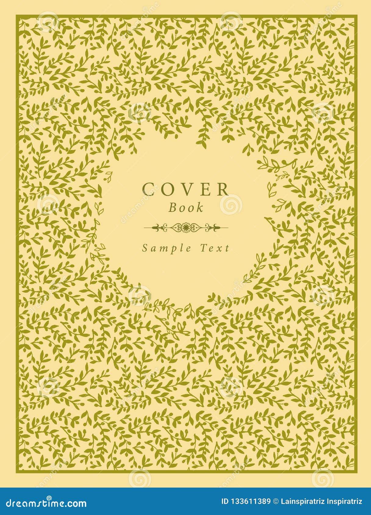 Räkningsbok som dekoreras med hand-drog olivgröna filialer modell och prövkopiatext och textavdelaren