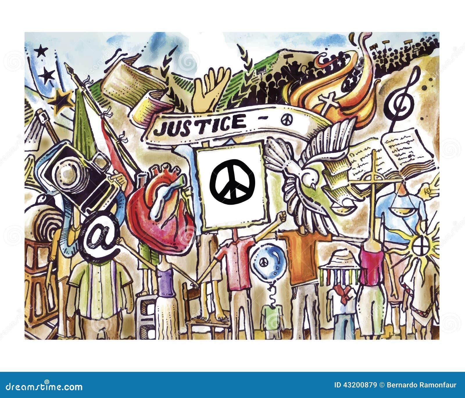 Download Rättvisa och fred vektor illustrationer. Illustration av teckning - 43200879