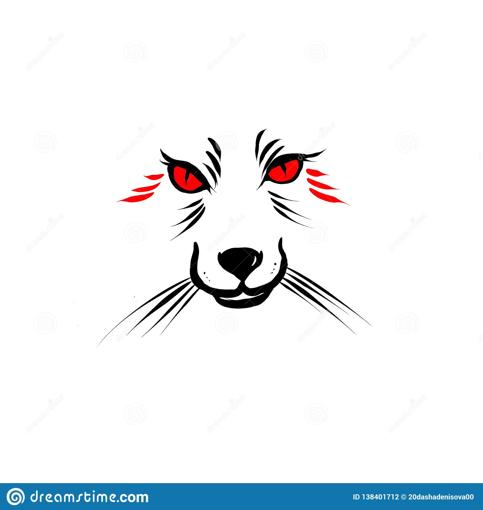 Räv med röda ögonkonturer