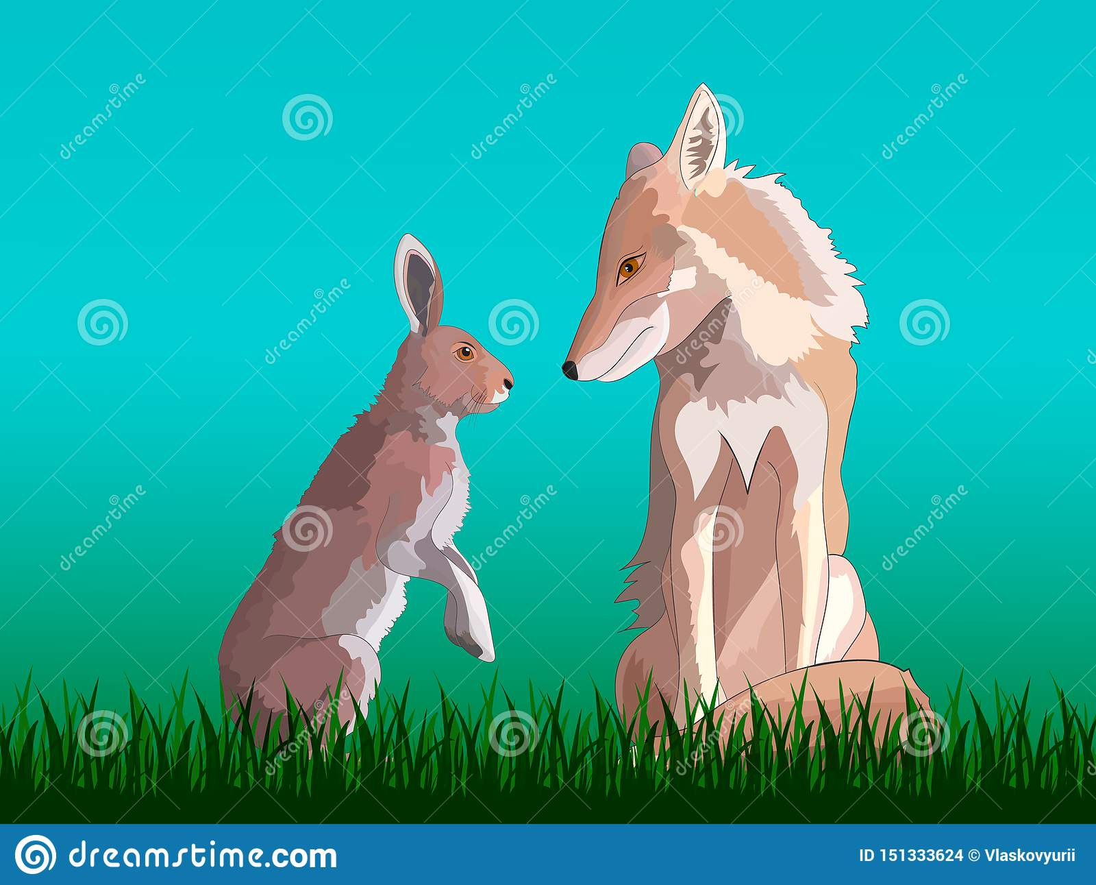Räv och hare som sitter på gräset