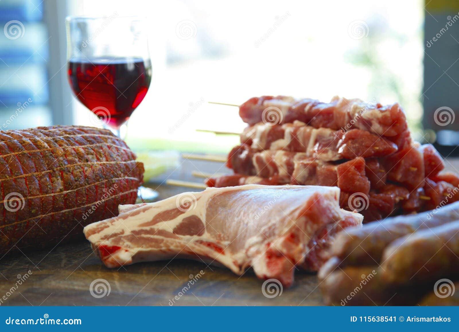 Rå blandade meats